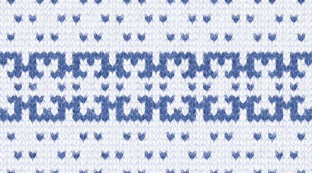 depiction of how the Haven needlework border might look in knitting, combined with an abstract speckle pattern
