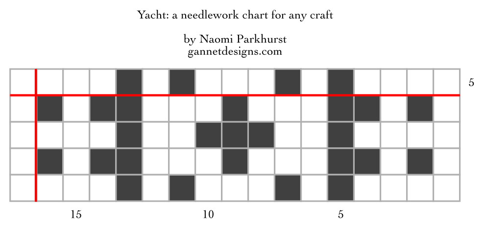 chart showing the arrangement of the Yacht needlework pattern as dark and light squares