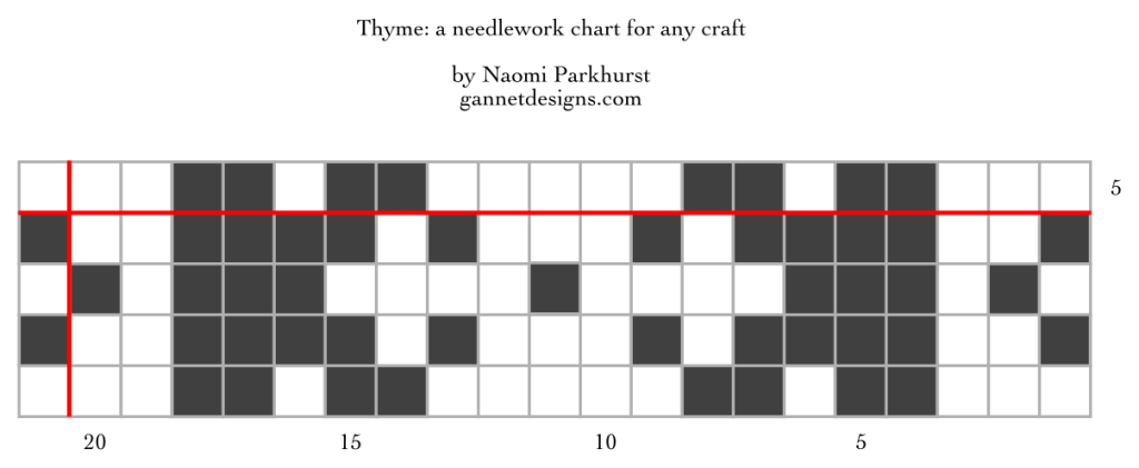 chart showing the layout for Thyme needlework using dark and light squares to show the arrangement