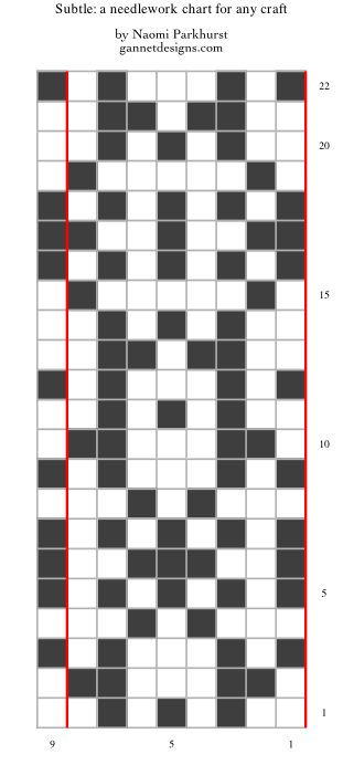 chart illustrating how to work the Subtle needlework chart by means of dark and light squares