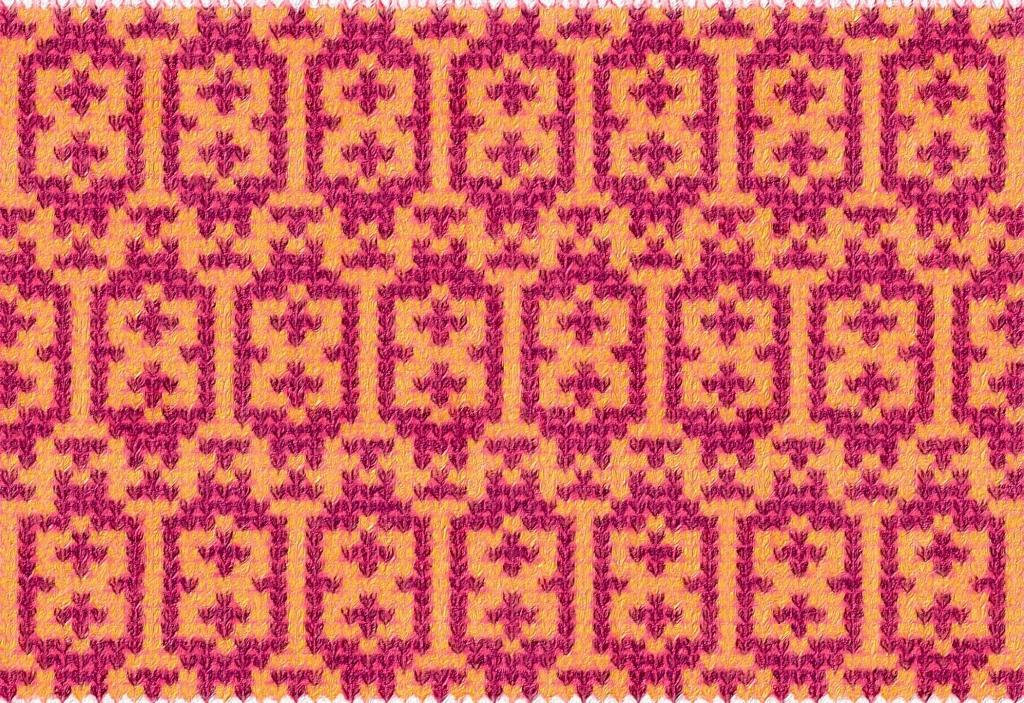 Illustrazione che mostra come il ricamo Sunrise potrebbe apparire come una maglia a trefoli.