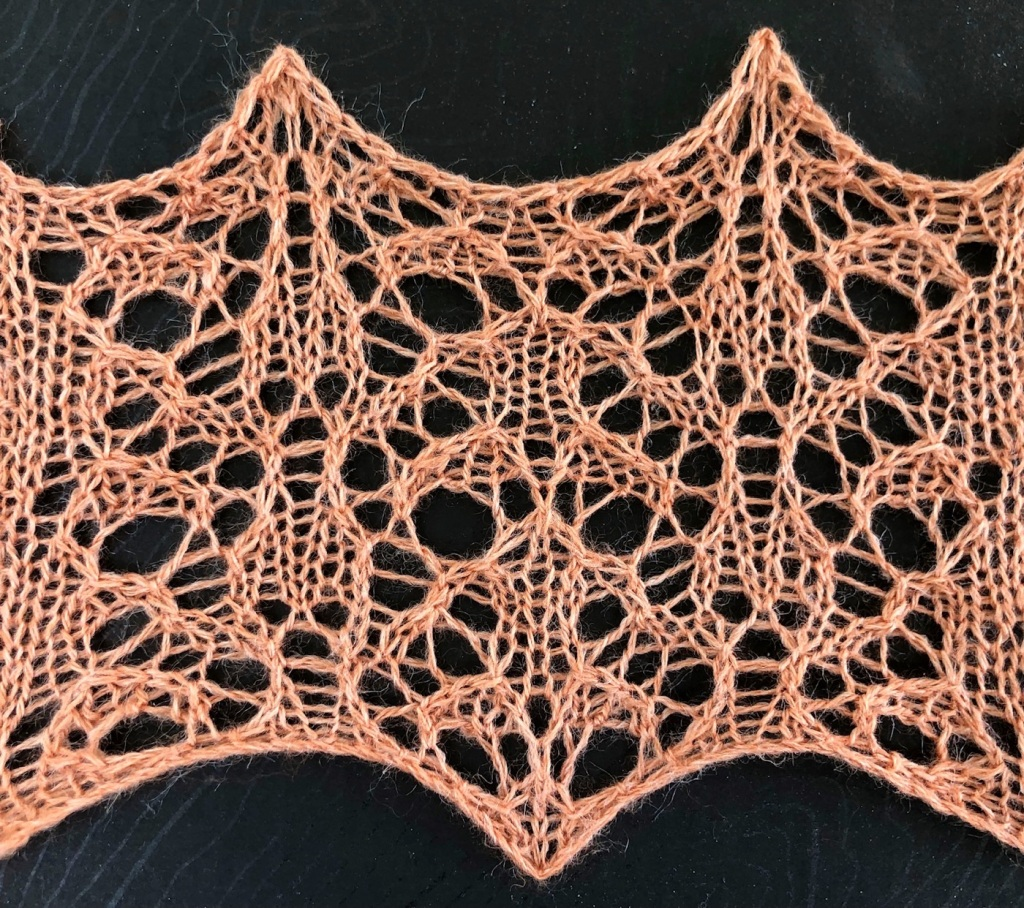 knitted sample of Sunrise lace