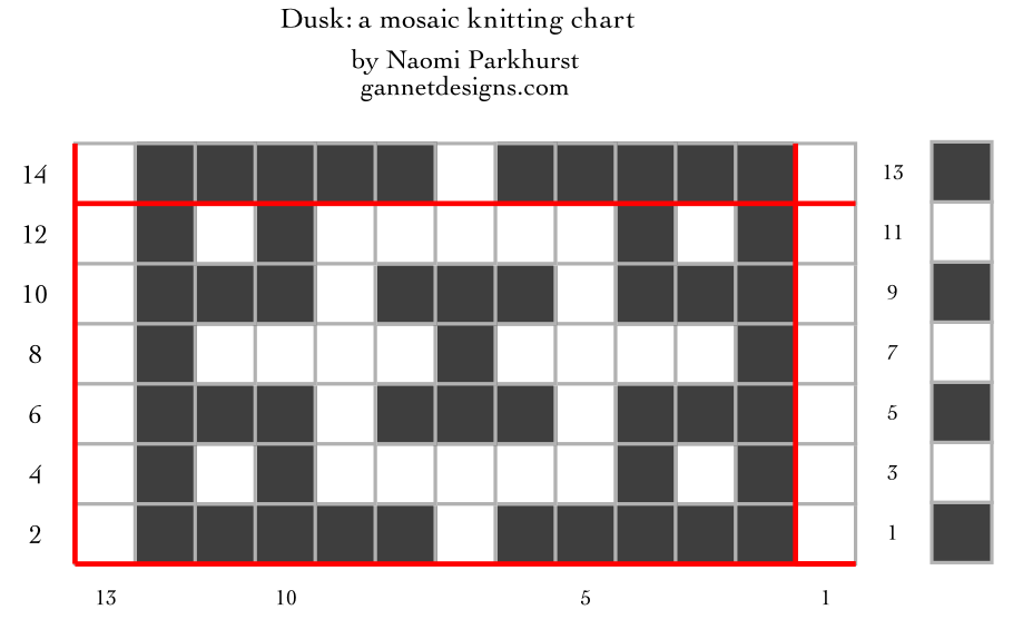 chart showing how to work Dusk mosaic knitting; written instructions are below.