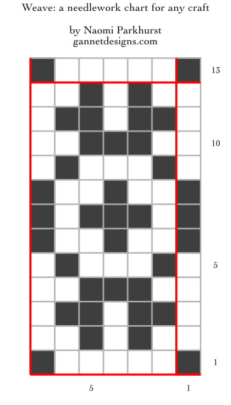 chart using dark and light squares to show how to work the Weave needlework pattern. See below for written instructions.