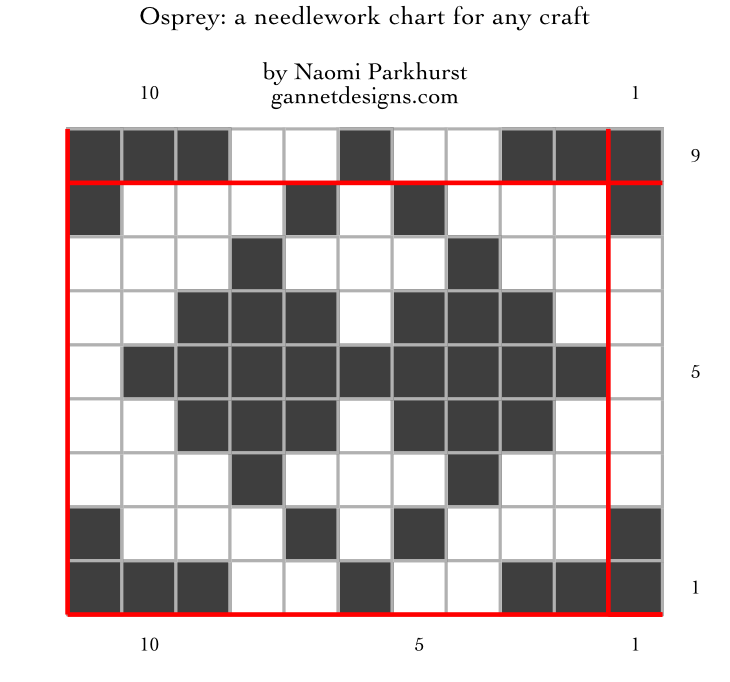 chart showing how to work Osprey needlework by means of of dark and light squares