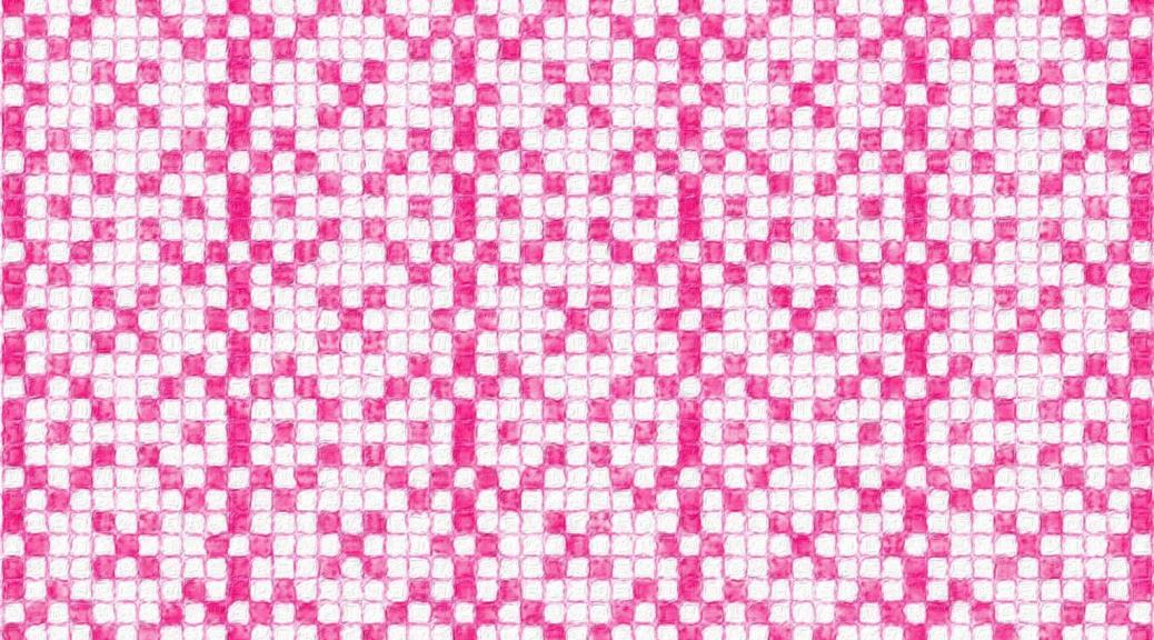 Illustration showing how Cosmos needlework might look as an allover pattern, in pink and white.