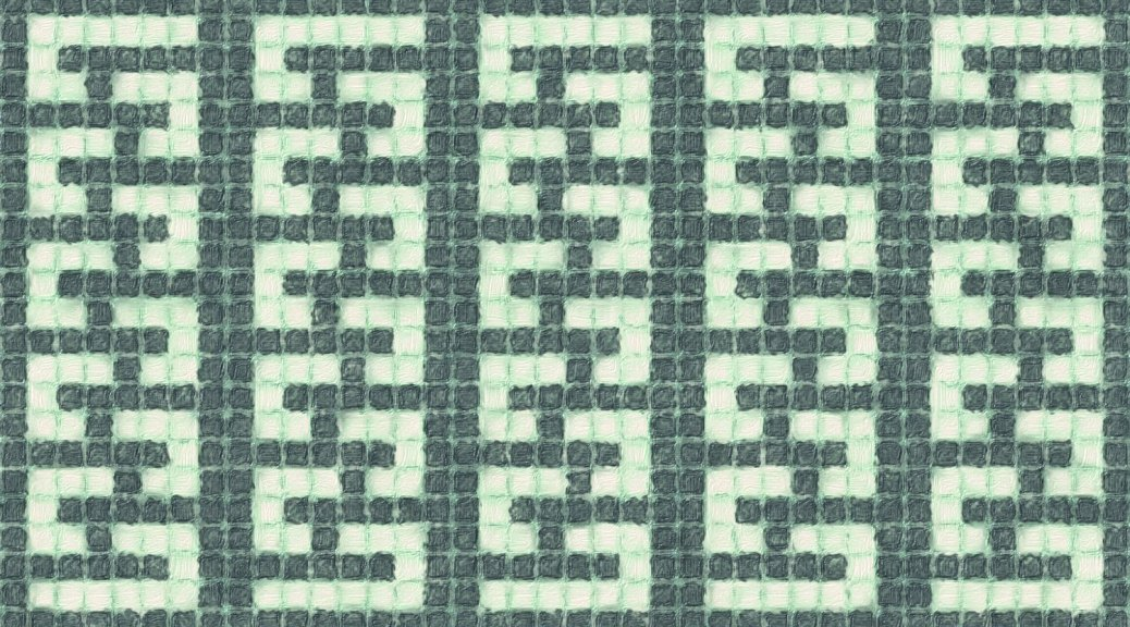 how the Winding Columns mosaic pattern might look as an allover pattern