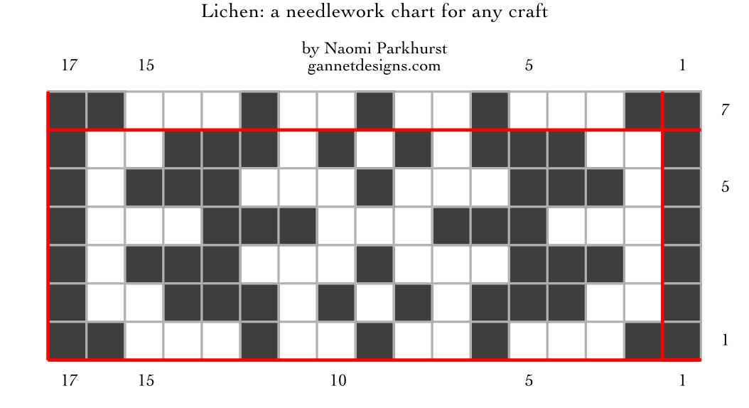 chart showing how to work Lichen needlework by means of dark and light squares. Written instructions in blog post.