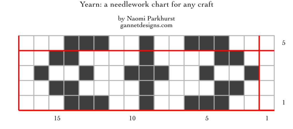 chart showing how to work Yearn needlework; written instructions included in blog post.